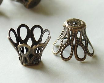 20% Off Sale Nickel Free Bronze Flower Bead CAPS - 25 Pcs (E115-NFAB)