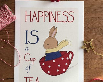 Happiness is a Cup of Tea - Word Art & Illustration Art Print