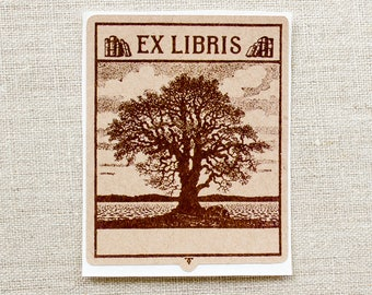oak tree bookplate stickers - masculine bookplates - Ex Libris - book plates - custom bookplate - bookworm for him - gift under 20 - kraft