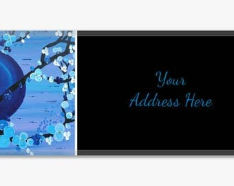 Blue Cherry Blossom Original Artwork Address Label Stickers Sheet of 60 Personalized Modern Customize Unique Gift Asian Inspired Flowers