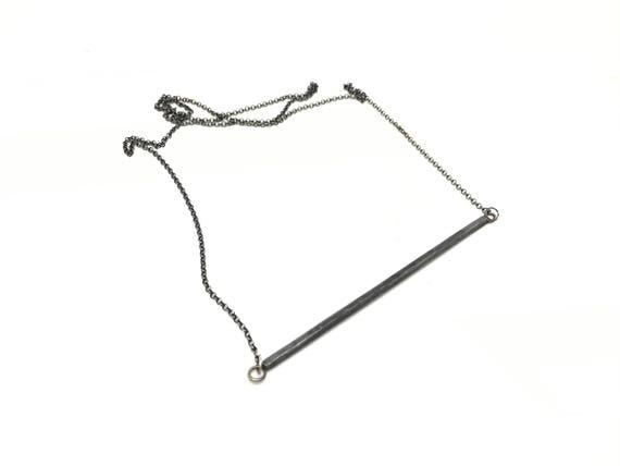 Bar necklace, simple black necklace, everyday necklace black necklace simple necklace statement necklace modern line necklace