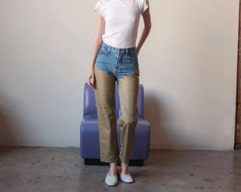 patchwork denim bootcut jeans / contrast denim / w 26 / 2832t / B9