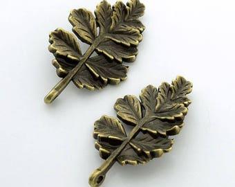 Leaf Charm Bronze Tone Pendant with Two Holes 5 pcs. 32x19mm