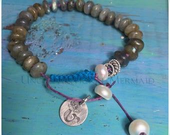 Labradorite, Freshwater Pearl and Sterling Silver Hemp Bracelet