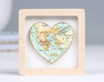 Personalised Miniature Map Heart Framed Print Valentine's gift - Romantic keepsake gift - Anniversary
