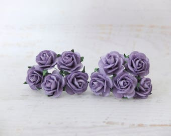 """10 25mm purple paper roses - 1"""" purple mulberry paper flowers with wire stems"""