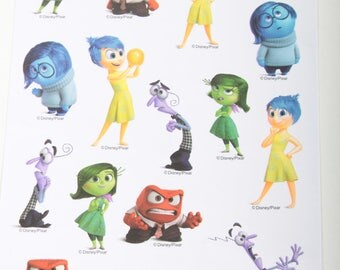 Inside Out, Sticker Set, Vintage, Disney, Pixar, Characters, Emotions, Joy, Sadness, Anger, Disgust, Fear, Cute ~ The Pink Room ~ 170319
