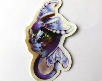 Lavender Dragon Sticker, Vinyl Sticker Original Artwork