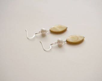 Mustard Earrings Mustard Jewelry Pearl Jewelry Pearl Earrings Bridesmaid Jewelry Bridesmaid Gift Freshwater Pearl Earrings Fall Jewelry Gift