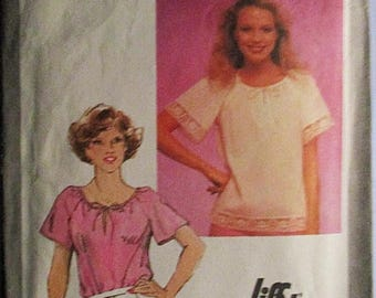 60% OFF SALE 1980s Vintage Sewing Pattern Simplicity 9548 Misses Jiffy Pullover Top Pattern Size 14