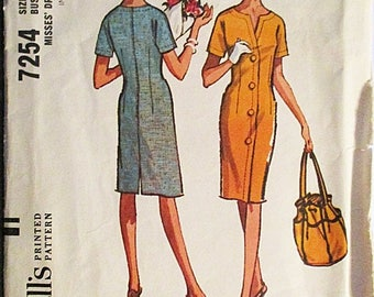 30% OFF SALE 1960s Vintage McCalls Sewing Pattern 7254 Misses Dress Pattern Size 12 Bust 32