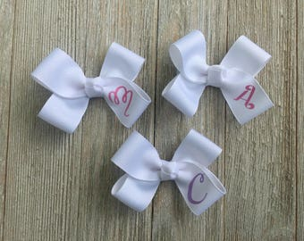 Monogrammed Hair Bow, 3 Inches Wide,Alligator Clip,Birthday Party Favors, You Choose the Letter