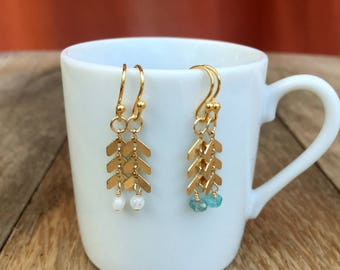 New - Gold Chevron with Gemstone Drop Earrings