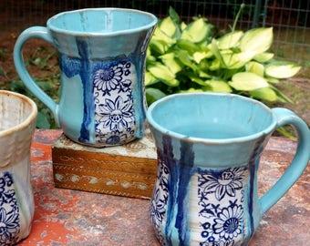 Pottery Mug Blue White Aqua Transferware Modern Potter's Wheel Coffee Tea Cup