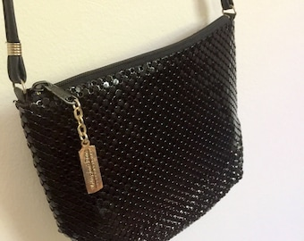 Black Vintage Mesh Whiting and Davis Small Purse- 1980s