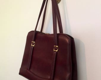 Burgundy Faux Leather Business Bag with Brasstone Hardware- 1960s