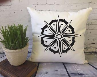 large flower decorative throw pillow cover/doodle flower/custom color pillow cover/minnie and maude coordinate/dorm decor