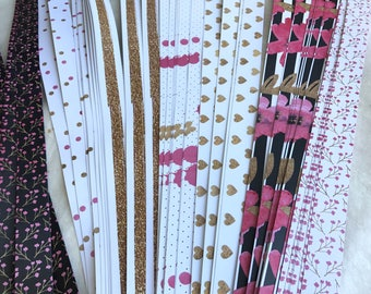 "3/4"" Weaving Star Paper~ Gold Glitter w Pink & Black (50 strips)"