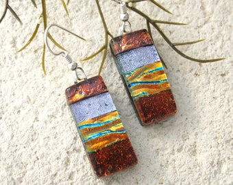 Red Silver  Gold Glass Earrings, Dangle Earrings, Dichroic Jewelry, Fused Glass Earrings, Red Earrings, ccvalenzo, 080217e105