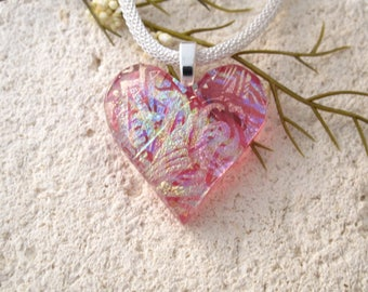 OOAK Pink Heart Necklace, Dichroic Jewelry, Fused Glass Heart Pendant, Pink Necklace, Fused Glasss Jewelry,  ccvalenzo, Handmade, 122017p100