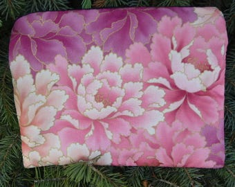 Peony Mahjongg card and coin purse, Pink and Purple Peonies, The Slide