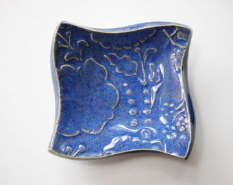 Square Trinket Dish, Coin dish, Jewelry Dish, Colorful Indigo Blue pottery - great for rings or spoon rest