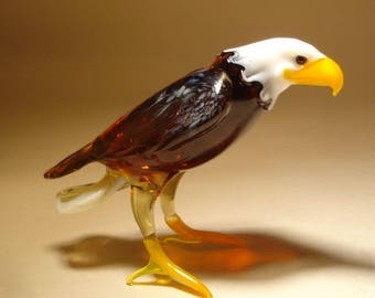 Handmade  Blown Glass Figurine Art Bald Headed EAGLE Bird