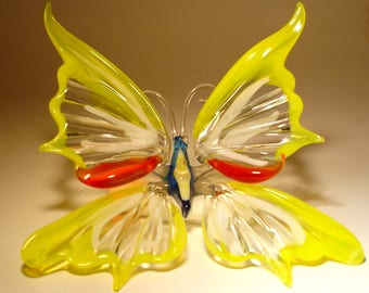 Blown Glass Figurine Art Insect Yellow, White and Red Hanging BUTTERFLY Ornament with a Hanging Hook