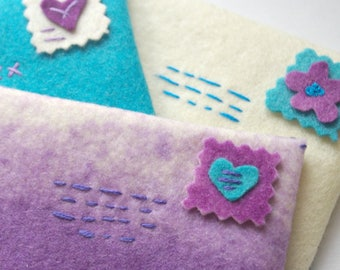 Valentine's Day Play: Wool Felt Envelopes for Love Notes (Hand Dyed, All Natural, Waldorf Inspired Toy) Toddler Play
