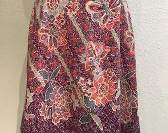 Plus Size A-line Skirt of Vintage Cotton Batik & Trim
