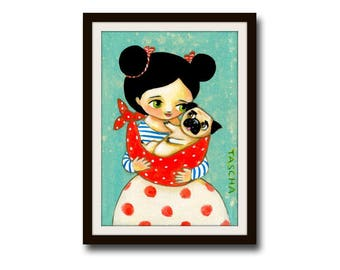 PRINT pug in baby sling SWEET pug art little puppy pug poster print from painting pug decor girl with pug baby by Tascha