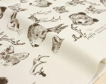 Japanese Fabric Kokka Trefle Woodland Animals knit - cream - 50cm