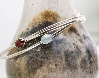 Bangle Bracelet with Gemstone,  Garnet Bangle, Aquamarine Bangle Bracelet, Stackable Bangle, Sterling Silver Bangle, Gold Bangle