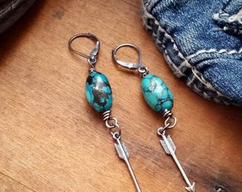 Sterling Silver Arrow, Turquoise Earrings- Boho Chic, Bohemian Earrings, Western Earrings