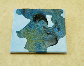"""Wearable Tiny Art 2"""" x 2"""" canvas Handprinted by Me Landscape Jewelry Pin Brooch"""