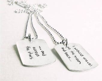 Sterling Handwriting Dog Tag CouplesNecklace by donnaodesigns