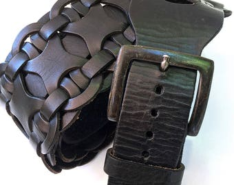 Black Braided Leather Guitar Strap with Gunmetal Hardware, EcoFriendly, Recycled Belts, Unisex, Unique, Adjustable Black Leather Strap, OOAK