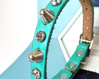 Leather Cat Collar in Rustic Aqua Blue with Crystal Rhinestones and Gentle Spikes, Blue Cat Collar, Leather Collar, Made in Seattle USA