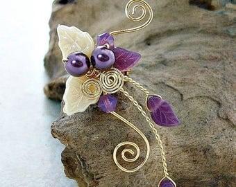 ON SALE Sugar Plum Fairy Ear Cuff, No Piercing, Fairy Jewelry, Fantasy Vine Wrap, Gift Idea, Gift for Her Stocking Stuffer