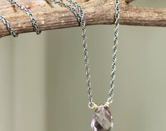 Tiny teardrop faceted amethyst pendant necklace and oxidized sterling silver chain