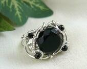 Black Onyx Ring ~ Black Stone Ring ~ Black Ring ~ Silver Wire Ring ~ Black Bead Ring ~ Wirewrapped Ring ~ Wirewrapped Bead Ring ~ Onyx Bead