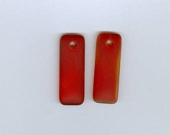 Red Rectangle Pendant, Set 2 Cherry Red 32mm x 12mm Small Puffed Rectangle Sea Glass Pendant Seaglass Bead