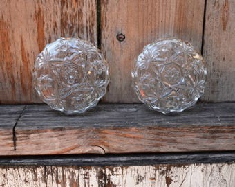 Pair of Vintage Floral Glass Ashtrays (or Candle Holders)