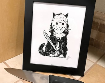 Friday the 13th Cat 8x10 Black and White Horror Film Jason Print Wall Art Decor by GIGART