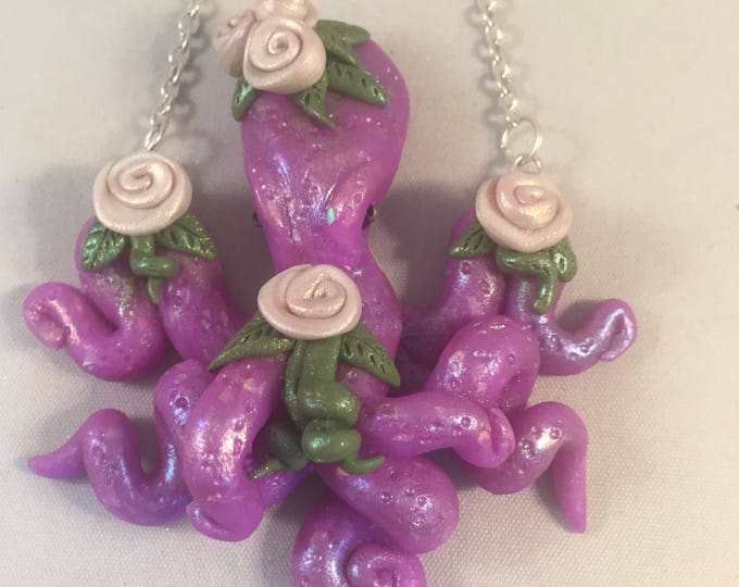 Rose Girl Octopus Necklace in purple
