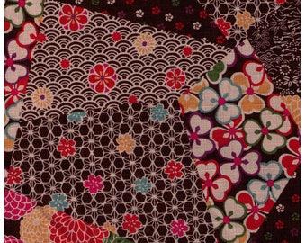 HALF YARD Traditional Cheater BROWN Colorway - Cotton Dobby - Geometric Diamond Asanoha Sakura Cherry Blossom Japanese Design- Cosmo Textile
