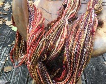 Handspun Art Yarn-Crunchy Leaves- Signature WildPlied Artisan Yarn