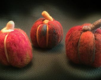Trio of Felted Pumpkins, Handmade, Set of three, Thanksgiving Pumpkins, Halloween Accents, Thanksgiving Decor, Felted Sculpture, Pumpkins