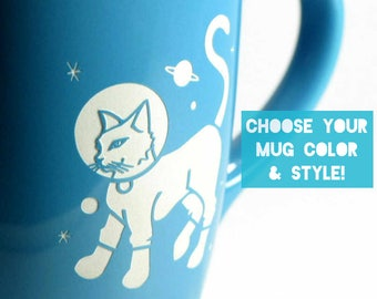Astronaut Cat Space Mug - Choose Your Cup Color