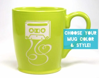 Cassette Mixtape Coffee Mug with Heart - Choose Your Cup Color